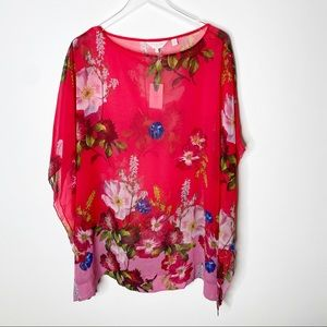 Ted Baker Red Floral Sheer Butterfly Top Small